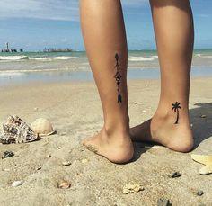 Tattoo feminina girls perna tornozelo coqueiro tribal