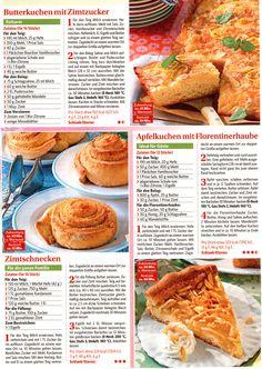 Butterkuchen mit Zimtzucker/ Apfelkuchen mit Florentinerhaube/ Zimtschnecke