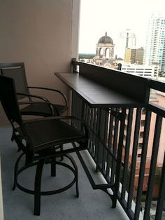 Pretty cool bar stools for balcony too.  doesn't look comfy but at least it's useful for eating and working outside.