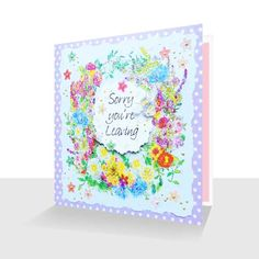 Sorry You're Leaving Card: Summer Flowers, Greetings Cards Online Ways To Say Sorry, Leaving Cards, Pink Envelopes, Polka Dot Background, Unique Cards, Summer Flowers, Print Design, Greeting Cards, Dots