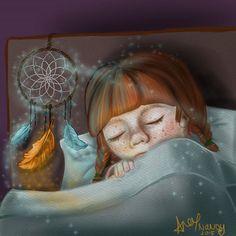 It's World Dream Day..!  ^^ #worlddreamday #daysoftheyear #dreamcatcher #dream #sleep #girl #feathers #magic #digitalart #illustration #cintiq #instaart #devartshare #phanasu #worldofartists #blvart #alexnandy