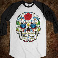Sugar Skull Tee Shirt, Mexican Sugar Skull