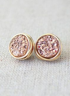 Bridesmaids Earrings / Druzy Stud Earrings / Rose