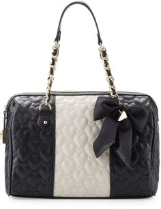 Betsey Johnson Be My Wonderful Barrel Bag, Black/Marshmellow on shopstyle.com