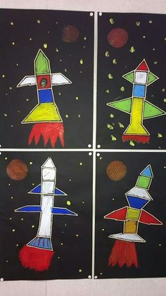 Raketit Kids Art Class, Art For Kids, Crafts For Kids, Arts And Crafts, Maternelle Grande Section, Kindergarten Art Projects, Space And Astronomy, Space Theme, Space Crafts
