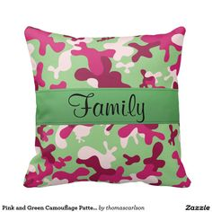 Pink and Green Camouflage Pattern Family Text Pillows