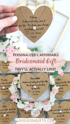 Bridesmaids Gift Ideas / Personalized Bridesmaids Proposal / Bridal Party Jewelry Gifts / Cheap Give your bridesmaids a gift they'll love! These affordable bridesmaid gifts and bridesm. Bridesmaid Gift Boxes, Bridesmaid Proposal Box, Wedding Gifts For Bridesmaids, Personalized Bridesmaid Gifts, Gifts For Wedding Party, Party Gifts, Bridesmaid Jewelry, Wedding Favors, Best Friend Bridesmaid