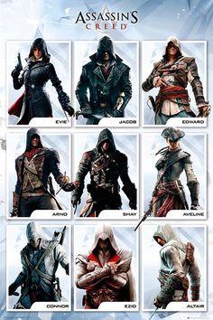 Póster Assassin's Creed, protagonistas  Póster con la imagen de todos los protagonistas de la popular saga de videojuego Assassin's Creed.