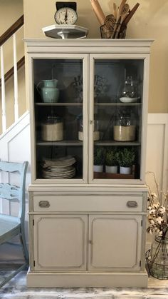 Kitchen Buffet Cabinet, Dining Room Hutch, Cabinet Decor, Dining Room Furniture, Hutch Cabinet, Cabinet Furniture, Vintage China Cabinets, Painted China Cabinets, Painted Hutch