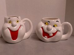 Ghost Coffee Mugs Cups Face Figural Halloween Anthropomorphic Two Piece Lot