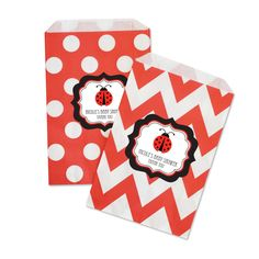 "Ladybug Chevron & Dots Goodie Bags (set of 12). Looking for a cute way to package gifts or treats? Our Ladybug Chevron & Dots Goodie Bags are the cutest and most versatile favor bags. Whether you're filling them with jewelry, candy, or baked goods, these bags are the perfect embellishment for your stylish baby shower welcoming your new baby. You can also lay them out at a candy buffet table for a decorative ""pack your own"" goodie bag.  Due to the personalization for this product the..."