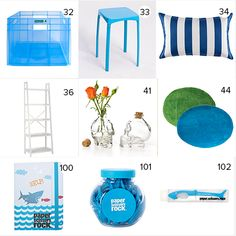 Get the look - Maree & James' Kids Room - The Block NZ 2014 - Visit blog.curate.co.nz for links to all products  |  Cube box & Circle Rugs from from Bunnings; Stool, cushion and bookshelf from Freedom; Skull Vase from Collected, Paper Scissors Rock Stationery from The Warehouse