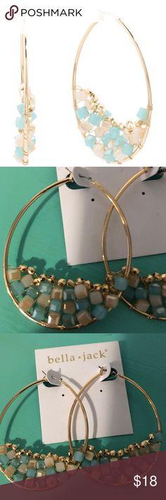NWT! Bella Jack Earrings & Free Gift Today ONLY! NWT! Bella Jack Earrings. Crystal Cluster Embellished Hoop Earrings gold plated base metal, glass crystals snap post closure Bella Jack Jewelry Earrings