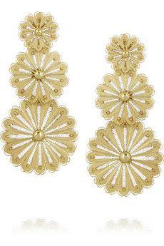 Finds + Joyas Fio gold-plated filigree earrings | NET-A-PORTER