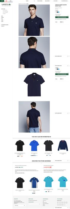 Lacoste PDP - all product images in large size rather than thumbnails #ecommerce #web #design #inspiration