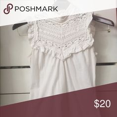 Forever 21 cream lace bib top Beautiful high-collar top with lace bib and button up neck in back. Solid part of the top is stretchy. Great for spring and summer. Forever 21 Tops