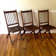 Vintage Folding Wooden Chair Set by RetroModernJoy on Etsy