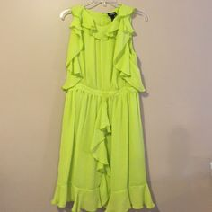 "Chartreuse flowy shoulder dress size 10 NWOT Chartreuse flowy shoulder dress size 10 NWOT. Chest measures 18"" and shoulder to hem measures 38"" the pictures captured the color perfectly  Dresses"