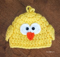 Crochet Chunky Baby Chick Hat - Repeat Crafter Me