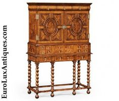 Fantastic hand-crafted Jonathan Charles Furniture secretaire or secretary desk. The William and Mary style walnut cabinet boasts églomisé detail in the fully fitted interior of drawers and pigeonholes. EuroLuxAntiques.com