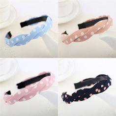 Fashion Korean Women Ladies Twisted Cloth Polka Dot Headband Hair Band Headwear | eBay