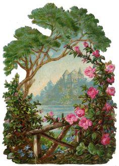 Free freebie printable vintage scrap Landscape in floral frame
