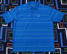 Nike Golf Pinehurst Polo Shirt Sz XL Dry Fit Blue Yellow Striped #NikeGolf #PoloRugby