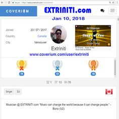 EXTRINITI.com COVERIUM Awards (Jan 10, 2018) since joining on July 23, 2017. I'm very please with my Cover Songs performance. Once I have a big enough following or a record deal, whichever comes first, I'll start making more Original Songs. #Extriniti #Coverium #RockCover #RapCover #CoverSong