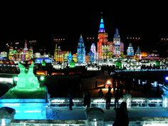 The Harbin  #ice and Snow Sculpture Festival is a month long #festival in Harbin in Northeast China.  #travel #inspiration #amazingplaces #china