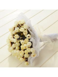Tulle Wrapped Ivory Rose Wedding Flower for Wedding Party MS72ZZ508