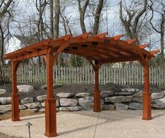 Hearthside Wood Pergola with lattice and superior posts http://www.backyardunlimited.com/pergolas