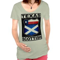 Texas Scottish American Maternity Top. Are you an ex-pat in #Texas? Here's a design for you!. To see this design on a range of other products, please visit my store: www.zazzle.com/celticana*/ #ScottishAmerican #ScotsAmerican