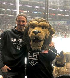 Zlatan at a hockey game; LA Kings. With mascot. :)