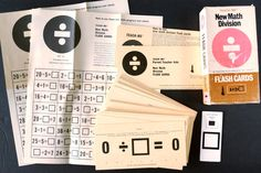 "Vintage Teach-Me New Math Division Flash Cards, Complete Set of 41, 6"" cards (c.1965)"