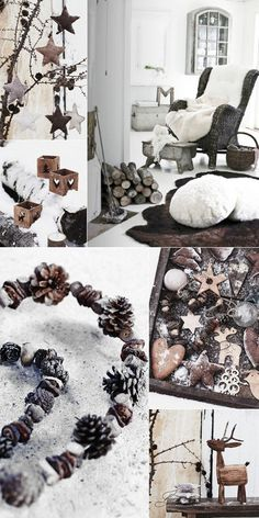 I really like that garland made of pinecones and twigs... bleached?