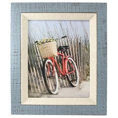 "Fetco Home Decor Dennisport Reclaimed Wood with Linen Liner Photo Frame, 8 x 10"", Blue"