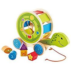 Hape Wooden Shape Sorter Pull Toy - Hape Educational Toys Wooden Blocks Sorter Puzzle for Toddler Learning ** More info could be found at the image url. (This is an affiliate link) Learning Toys For Toddlers, Puzzles For Toddlers, Toddler Learning, Toddler Toys, Kids Toys, Toy Turtles, Hape Toys, Pull Along Toys, Best Educational Toys