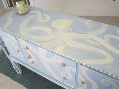 """tentacular-art: """"Octopus of the Day Hand painted octopus sideboard. http://www.etsy.com/shop/dapperdoodledesigns """""""