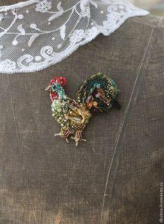 """Купить Брошь """"Петух"""" 4я вариация) - разноцветный, петух, петушок, необычное украшение, необычная брошь"""