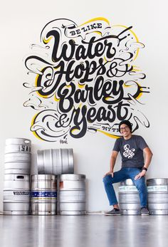 Be Like Water Mural — pprwrk studio Chalkboard Lettering, Typography Letters, Typography Poster, Types Of Lettering, Lettering Design, Mural Art, Wall Murals, Letras Cool, Wall Painting Decor