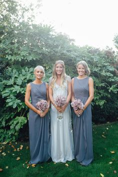 Bridesmaids in Grey - Image by Jake Morely Photography - Jenny Packham 'Eden' Gown and accessories with Stuart Weitzman Gold shoes for a marquee reception in Wales with DIY vintage pink florals and lilac Dessy Bridesmaid Dresses.