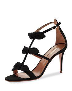 a42ce7aa7a20 Aquazzura St. Tropez Bow 85mm Suede Sandal