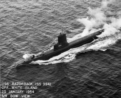 USS Razorback SS 394, originally launched from the Portsmouth Naval Shipyard, Kittery, Maine in 1944.
