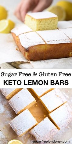 Moist and on the right side of zingy, these easy Keto lemon bars are a crowd pleaser! A sugar free dessert recipe you'll want to make over and over again. Check out the post for topping ideas and variations, from sugar free lemon cake drizzle to low Sugar Free Lemon Cake, Sugar Free Desserts, Sugar Free Recipes, Low Carb Desserts, Low Carb Recipes, Diet Desserts, Keto Snacks, Healthy Lemon Recipes, Diabetic Desserts Sugar Free Low Carb