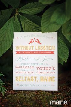 Invitations for the rehearsal dinner at Young's Lobster Pound by Parrott Design Studio for Jason + Kristine's Camden, Maine wedding