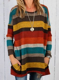 Round Neck Long Sleeve Colorful Striped Tee Shirt jumper sweater affiliate link