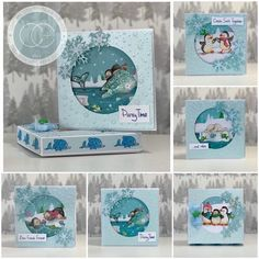 """Set of cards with box, created by Elisabeth Hogarth using """"Polar Party"""" from Craft Consortium Ltd and designed by Helz Cuppleditch. 3d Cards, Winter Theme, One Design, Creative Cards, Note Cards, Party Time, Christmas Cards, Hunky Dory, Card Making"""