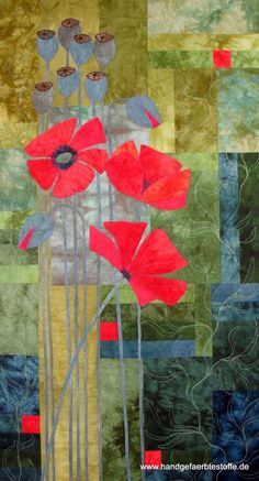 Wild Poppy by Beatrix Laufens. Hand-Colored Quilt Kits - www. Quilting Projects, Quilting Designs, Asian Quilts, Landscape Art Quilts, Flower Quilts, Sewing Art, Quilted Wall Hangings, Quilt Kits, Applique Quilts