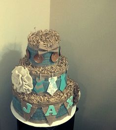 Diaper Cake ~ Rustic Burlap Boy Baby Shower (First one I've ever made!)