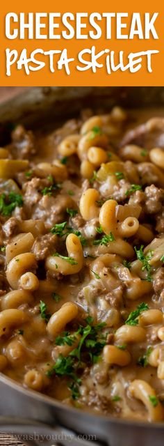 This cheesy Philly Cheesesteak Pasta Skillet is like homemade hamburger helper! My whole family LOVED it! This cheesy Philly Cheesesteak Pasta Skillet is like homemade hamburger helper! My whole family LOVED it! Steak Pasta, Beef Dishes, Pasta Dishes, Food Dishes, Pasta Food, Main Dishes, Meat Recipes, Cooking Recipes, Skillet Recipes